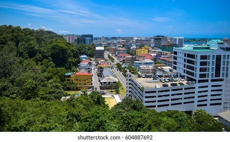 KOTA KINABALU/MALAYSIA - SEPTEMBER 1 2016: View to Kota Kinabalu town (Jesselton) - the capital of state of Sabah in Malaysia. Borneo island
