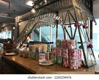 Kota kinabalu,sabah 22 12 2018. A counter at travale cafe aeropod with effiel tower replica at the counter. A bartender still doing his job at the counter