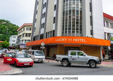 Kota Kinabalu,Sabah-Apr 10,2017:Lucky 11 Hotel,budget inn  in Kota Kinabalu,Sabah.With effect on 1st July 2017,the Malaysian government will implement tourism tax on industry hotel in Malaysia.