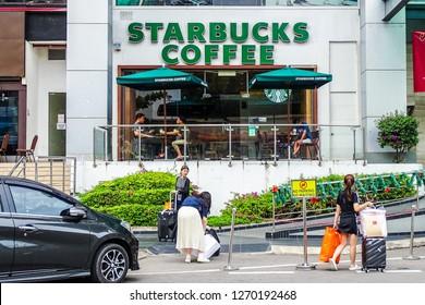 Kota Kinabalu,Sabah-Dec 20,2018: Starbucks Coffee shop in Suria shopping complex Kota Kinabalu,Sabah,Malaysia.Starbucks is one of the largest international coffee shop chain business worldwide