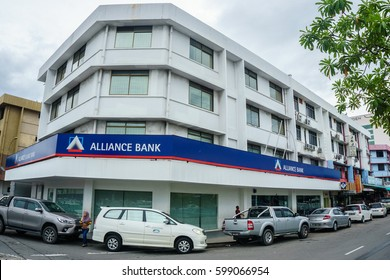 Kota Kinabalu,Sabah-Feb 28,2017:Alliance Bank building in Kota Kinabalu,Sabah.Alliance Bank was selected to be one of the anchor banks & Its successfully anchored the merger with Sabah Bank Berhad