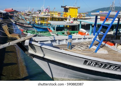 Kota Kinabalu,Sabah:Mac 1,2017:View of fishing boats docked at Kota Kinabalu fishing port on 1st Mac 2017.There are many areas off the coast of Sabah for deep sea fishing activity.
