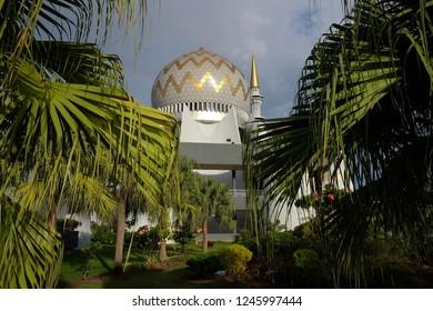 KOTA KINABALU,SABAH,MALAYSIA- December 1,2018: mosque dome of the Sabah State Mosque, located Sembulan village,Kota Kinabalu,Sabah