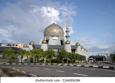 KOTA KINABALU,SABAH,MALAYSIA- December 1,2018: Sabah State Mosque, located Sembulan village,Kota Kinabalu,Sabah