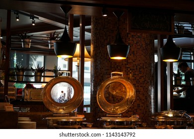 KOTA KINABALU,SABAH,MALAYSIA. TAKEN ON JULY 2018. Phot for interior decoration in dining area and  kitchen in hotel.