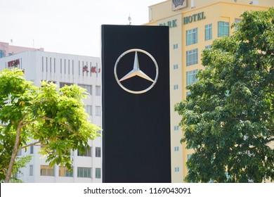 KOTA KINABALU,SABAH,MALAYSIA-Aug 31,2018 : Mercedes Benz logo near Hap Seng Building, Kota Kinabalu showroom. Mercedes Benz a German automotive company is well known for its luxury car line up.