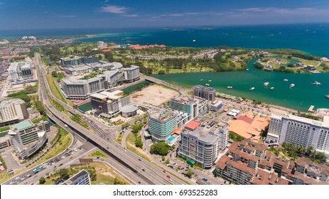 KOTA KINABALU,SABAH,MALAYSIA-August 6,2017:An aerial view of Kota Kinabalu City Centre,Sabah. The most of beautiful city for holiday in the Sabah state.