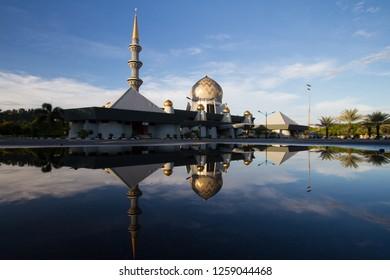 KOTA KINABALU,SABAH,MALAYSIA-December 5,2018:Sabah State Mosque around Kota Kinabalu,Sabah,Malaysia during sunrise