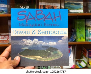 KOTA KINABALU,SABAH,MALAYSIA-December 8,2018:catalogs and brochures related to tourism centers in the state of Sabah