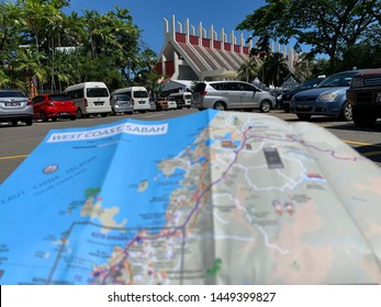Kota Kinabalu,Sabah,Malaysia-July 13,2019: Sabah museums are shot with photographic techniques by mapping Sabah maps as foreground framing