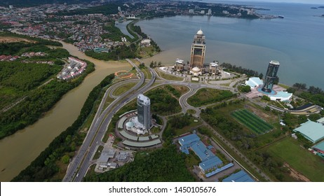 Kota Kinabalu,Sabah,Malaysia-July 14,2019: An aerial view The Sabah State iconic building from left Innoprise Building,Centre Sabah Administrative and right Sabah Faoundation