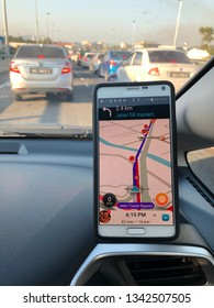 KOTA KINABALU,SABAH,MALAYSIA-March 18,2019: - GPS application Waze running on Samsung Note 4 in a car. Waze is one of the most popular GPS applications.