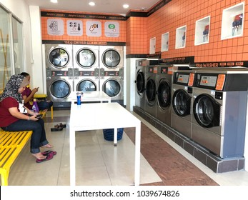 KOTA KINABALU,SABAH,MALAYSIA-March 6, 2018 : Washing machine in local self service laundry has increase in demand.
