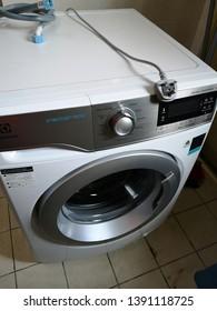 KOTA KINABALU,SABAH,MALAYSIA-May 3,2019 : Free-standing Electrolux Washing Machine on display,.