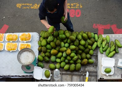 KOTA KINABALU,SABAH,MALAYSIA-Nov 18,2017 : Scene at food bazaar at Segama.This place offers fresh fruits and culinary mix of food dishes from all of South East Asia. Famous tourist place.Top View.