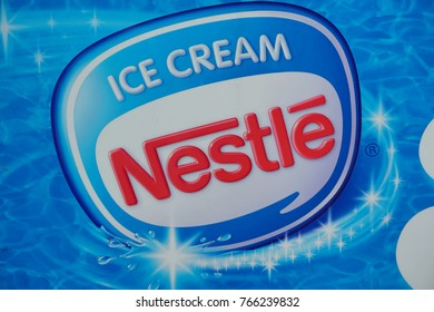 KOTA KINABALU,SABAH,MALAYSIA-Nov 30,2017 : Nestles Drumstick Ice cream advertisement promotion sign board. Nestles is headquartered in Switzerland.