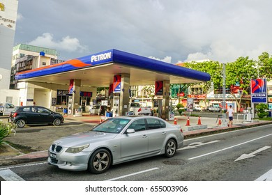 Kota Kinabalu,Sabah-May 28,2017:PETRON gas station in Kota Kinabalu,Sabah,Malaysia.Petron acquired in 2011 Esso Malaysia's Port Dickson refinery & fuel retail network in Malaysia