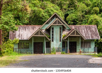 Kota Kinabatangan, Sabah, Malaysia - July 27 2014: Former administration and ticket counter for the Gomantong Caves, a traditional place for harvesting birdnests