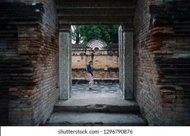 Kotagede, Jogjakarta / Indonesia - July 26, 2016 : Portrait of caretaker at King Imogiri cemetery.