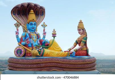 KOTAPPA KONDA,AP,INDIA-AUGUST 12:Statue of Lord vishnu and lakshmi Hindu God and goddess  as in mythology on August 12,2016 In Kotappa konda,AP,India.
