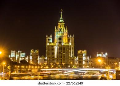 Kotelnicheskaya Embankment Building in Moscow at night