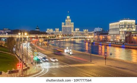 Kotelnicheskaya Embankment Building and Moskva river view taken from Bol'shoy Moskvoretskiy Most