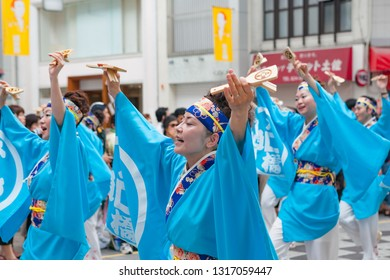 KOTI, JAPAN, AUGUST 21,2016. Participants in the traditional Yosakoi dance festival