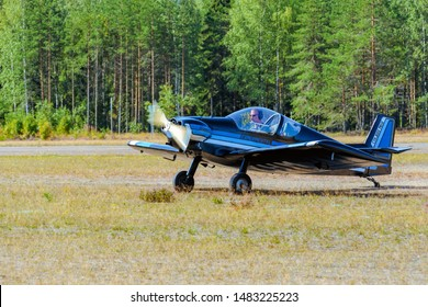 KOTKA, FINLAND - Aug 10, 2019: Amateur construction single-engined piston-powered small sports aircraft Brugger MB-2 Colibri OH-XHM landing on the Karhula aviation museum airshow.