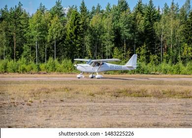 KOTKA, FINLAND - Aug 10, 2019: German-designed single-engine ultralight airplane B&F Technik FK-9 Mk.4, also marketed as the FK-Lightplanes FK9 Mk.4, OH-U509 landing on Karhula aviation museum airshow