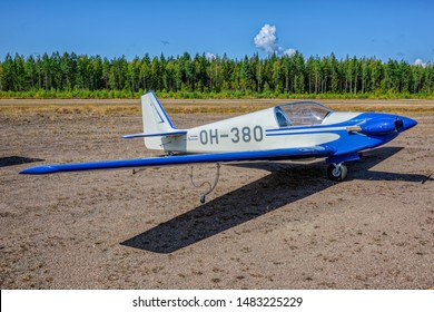 KOTKA, FINLAND - Aug 10, 2019: Single-seater aerobatic motor glider Fournier RF4D OH-380 parked on Karhula aviation museum airshow.