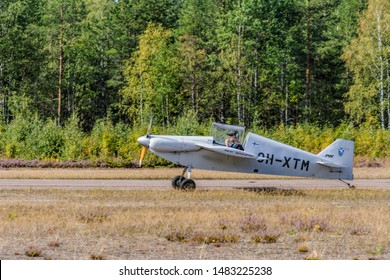 KOTKA, FINLAND - Aug 10, 2019: Self-made single-engined piston-powered airplane PIK-21 Super-Sytky OH-XTM landing on the Karhula aviation museum airshow.