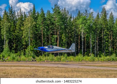 KOTKA, FINLAND - Aug 10, 2019: Single-seater aerobatic motor glider Fournier RF4D OH-380 take off from Karhula aviation museum airshow.