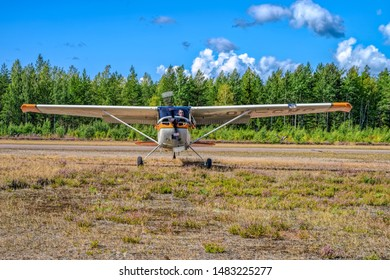 KOTKA, FINLAND - Aug 10, 2019: Four-seat light all-metal single-engined piston-powered airplane Cessna 170B OH-CWQ landing on Karhula aviation museum airshow.