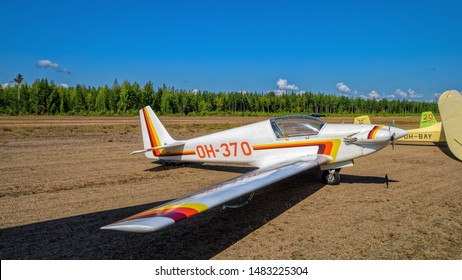 KOTKA, FINLAND - Aug 10, 2019: Single-seater aerobatic motor glider Fournier RF4D OH-370 parked on Karhula aviation museum airshow.