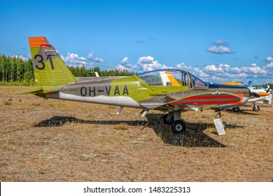 KOTKA, FINLAND - Aug 10, 2019: Finnish-designed single-engined piston-powered military basic trainer aircraft Valmet L-70 Miltrainer OH-VAA parked on Karhula aviation museum airshow.