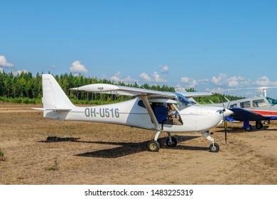 KOTKA, FINLAND - Aug 10, 2019: German-designed single-engine ultralight airplane B&F Technik FK-9 Mk.4, also marketed as the FK-Lightplanes FK9 Mk.4, OH-U516 parked on Karhula aviation museum airshow.
