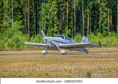 KOTKA, FINLAND - Aug 10, 2019: Two-seat single-engined piston-powered homebuilt airplane Vans RV-6E OH-XTH landing on Karhula aviation museum airshow.