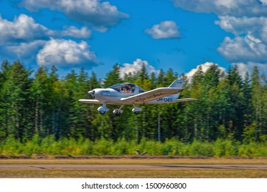 KOTKA, FINLAND - Aug 10, 2019: Two-seat single-engined piston-powered ultralight low wing monoplane TL Ultralight TL-96 Star OH-U411 take off from Karhula aviation museum airshow.