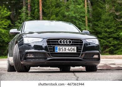 Kotka, Finland - July 16, 2016: Black Facelift Audi A5 2.0 TDI 2012 model year Facelift car, closeup front view