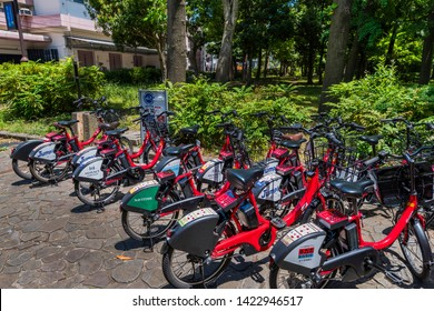 KOTO, TOKYO / JAPAN - MAY 23 2019 : Bicycle sharing cycle port available in central Tokyo. Bicycles can be rented for a fee, making it convenient for sightseeing.