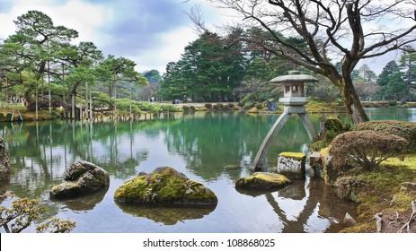 Kotoji Lantern at Kenrokuen Garden in Kanazawa