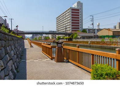 Koto-ku, Tokyo, Japan. April 20, 2018. A section of the scenic walkway beside the Onagi River in eastern Tokyo.