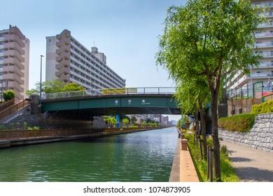 Koto-ku, Tokyo, Japan. April 20, 2018. The Basnho Bashi Bridge on the river Konaki. This the first bidge over the river as it flows westards.