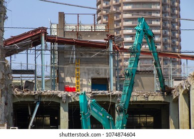 Koto-ku, Tokyo, Japan. April 20, 2018. An old concrete building is being demolished in eastern Tokyo.