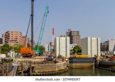 Koto-ku, Tokyo, Japan. April 20, 2018. The reconstruction of the Ogibashi Lock on the Onagi River in eastern Tokyo.
