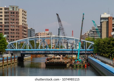 Koto-ku, Tokyo, Japan. April 20, 2018. Construction work to reinforce and beautify the river banks of the Onagi River. A wider pedestrian walking path and gardens will be made.