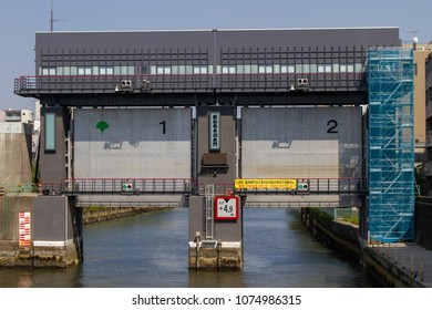 Koto-ku, Tokyo, Japan. April 20, 2018. The recently reconstructed flood water gates on the Onagi River in eastern Tokyo.