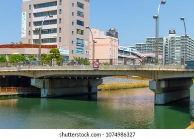 Koto-ku, Tokyo, Japan. April 20, 2018. The Onderikawa Bridge that spans the Onagi River in eastern Tokyo.