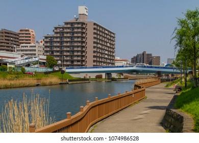 Koto-ku, Tokyo, Japan. April 20, 2018. The Onagi River Clover Bridge in eastern Tokyo.