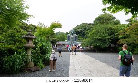 Kotokuin Temple, Kamakura, Japan-21/6/2018. View of Kamakura Daibutsu (Great Buddha of Kamakura) and tourists.
